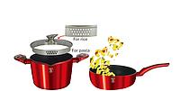 Набор посуды для макарон красный металик мраморное покрытие 3пр