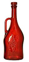 """Бутылка 1,5л стеклянная с пластиковой пробкой """"Магнум""""  красного цвета"""