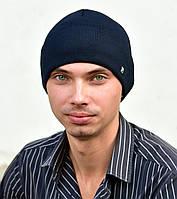 АйРон отворот. Мужская шапка из п/шерсти, флис. р55-57. Черный, синий, антрацит меланж, бутылка, синий, джинс, фото 1