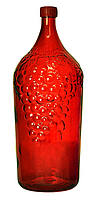 """Бутылка 2,0л стеклянная с пластиковой крышкой """"Виноград""""  красного цвета"""