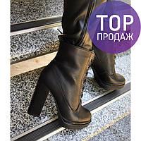Женские ботинки на каблуке 12 см, черного цвета / полусапоги женские кожаные, на шнуровке, удобные, стильные