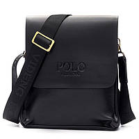 Мужская сумка Polo Videng большая коричневая и черная