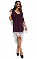Вільне вечірнє фіолетове плаття з гіпюром Nizza