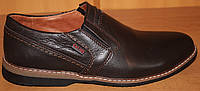 Мужские туфли на резинке кожаные, обувь мужская кожаная от производителя модель Г122-Т