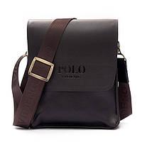 Мужская сумка Polo Videng большая коричневая и черная Коричневый