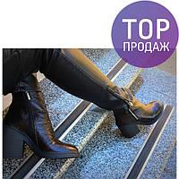 Женские низкие ботинки на каблуке 9 см, черного цвета / полусапоги женские кожаные, с молнией, удобные, модные