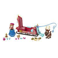 Уценка! Набор Дисней мини-кукла Анна Холодное Сердце, сани и олень Свен. Оригинал Hasbro