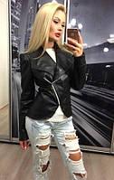 ХИТ года! Женская кожаная куртка косуха с укороченной змейкой демисезонная чёрная 42 44 46