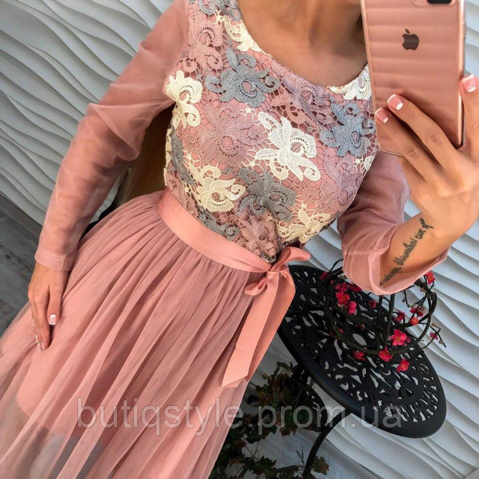 Красивое элегантное платье с вышивкой, юбка и руква из органзы