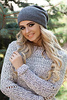 Женская зимняя шапка-колпак «Хэлхейм» Тенмо-серый меланж
