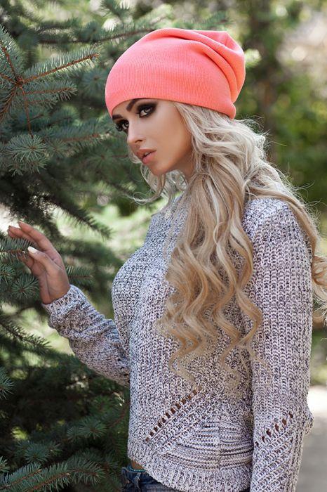 Женская зимняя шапка-колпак «Хэлхейм» Коралловый