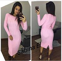 Теплое женское вязаное платье ниже колена 7PL149