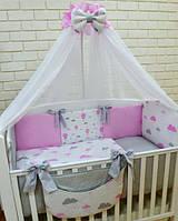 Балдахин в детскую кроватку 120/60 для девочки (расцветки в ассортименте)