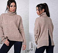 Женский свободный свитер с высокой горловиной и молнией сзади 55KF55