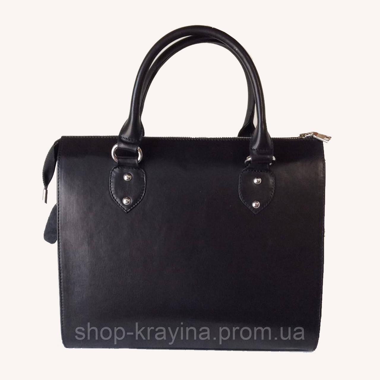Кожаная сумка VS18  blak 31х27х13  см