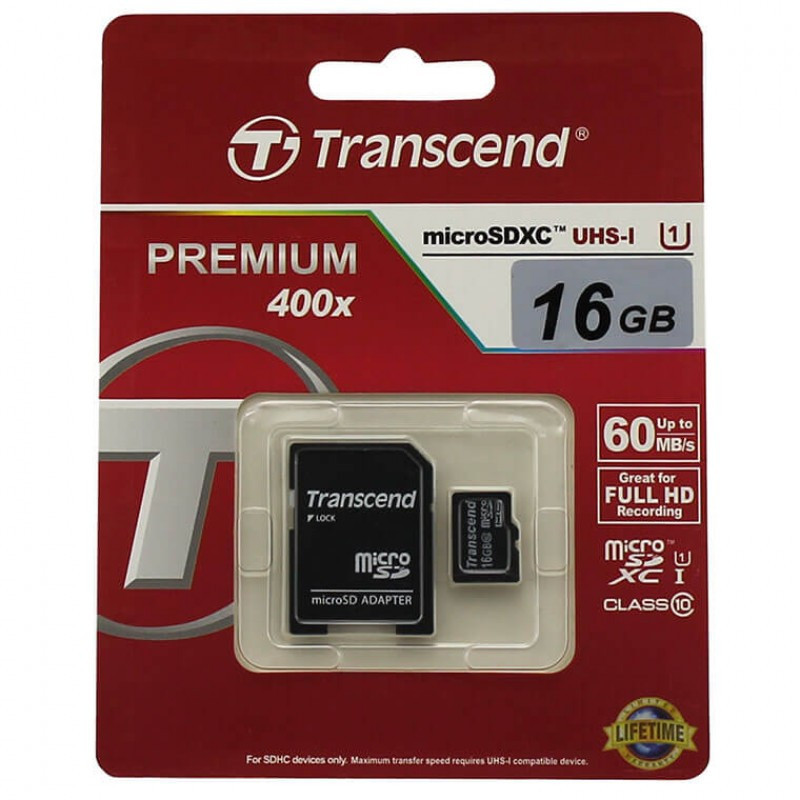 Карта памяти Transcend microSDHC 64GB class 10 UHS-I Premium 300X + SD adapter