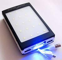 Портативная зарядка на солнечной батарее Power Bank Solar 25000mAh + LED панель + фонарик