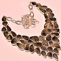 Колье, ожерелье из натурального Черного Рутилового Кварца (Волосатика)