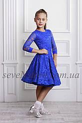 Рейтинговое платье Бейсик для бальных танцев Sevenstore 9101 Електрик