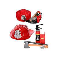 Набор пожарника, каска, топор, огнетушитель, в сетке, 30-10,5см