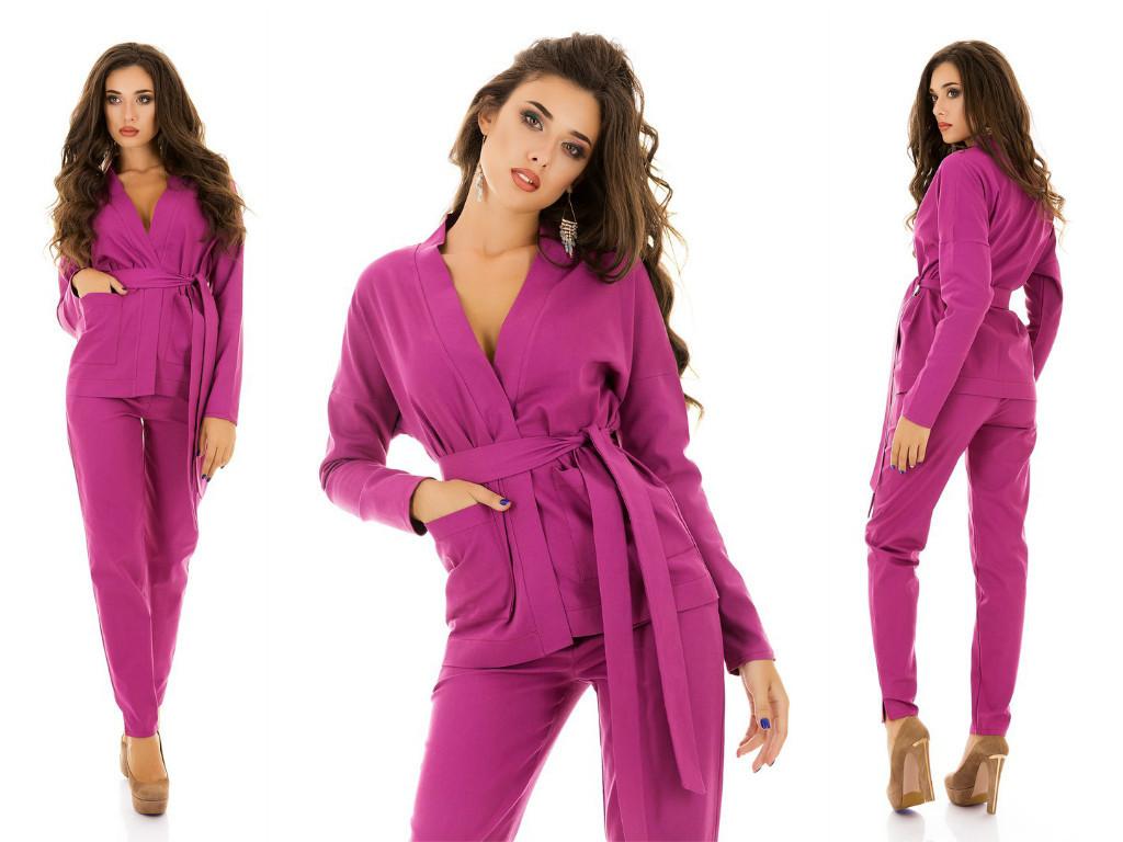 c1e953604bc Стильный женский костюм  пиджак на запах с поясом и брюки - AMONA  интернет-магазин