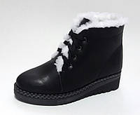 Женские зимние чёрные кожаные ботинки с шнуровкой, с подкладкой из натуральной шерсти