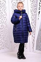 Детское зимнее пальто с плащевки АНГЕЛ джинс