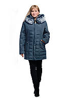 Куртка зимняя стеганная цвета морская волна с искуственным мехом VALENCIA (цвет мурена) код:VL00002