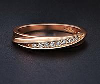 Позолоченное кольцо с цирконами р 16,17,18 код 798
