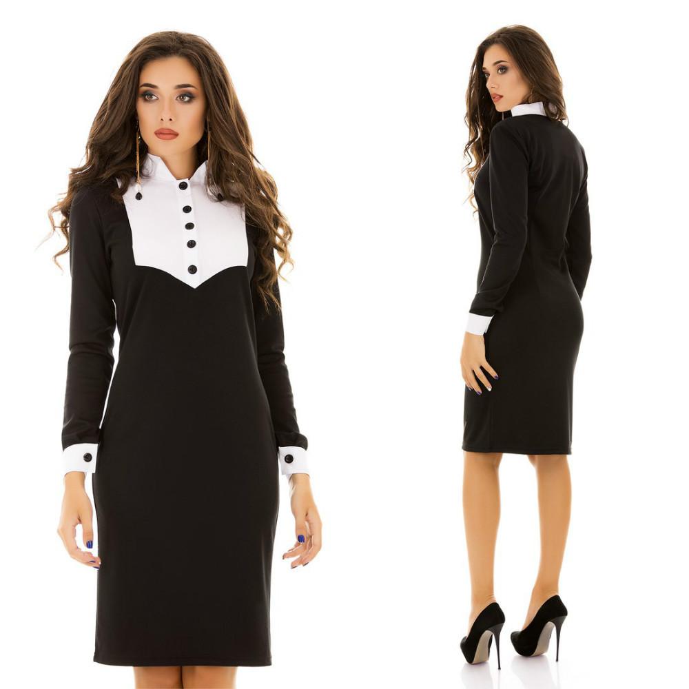 Комбинированное деловое платье с оригинальной вставкой сверху