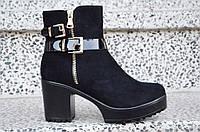 Весенние полусапожки ботинки ботильоны на каблуке, на платформе женские черные 2017. Со скидкой