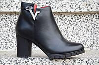 Весенние ботильоны полусапожки на широком каблуке женские черные (Код: Ш890)