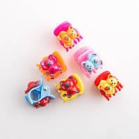 """Заколка детская крабик набор 6 шт """"Мишки с клубничкой"""" 1,5х1,5см"""