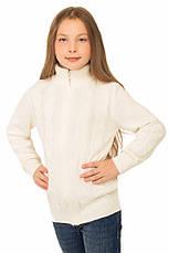 """Теплая шерстяная кофта """"Эсми"""", для девочки, на молнии, цвет молочный, на рост 140 см, фото 3"""