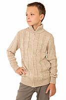 """Теплая шерстяная кофта """"Эсми"""", для мальчика, на молнии, цвет бежевый,"""
