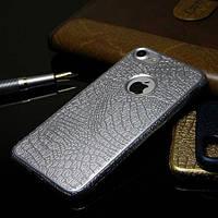 Силиконовый чехол под кожу крокодила Серебро для iPhone 8