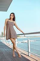 Короткий пляжный сарафан с вышивкой Ora 500115/1 46(L) Коричневый Ora 500115/1