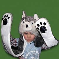 Шапка маска с лапками Собака
