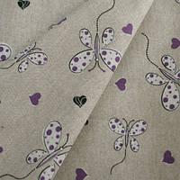 Льняные ткани с рисунком бабочки в детскую. цвета внутри. испания, фото 1