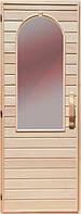 Деревянная дверь с матовым стеклом для сауны Украина 80х190 липа (вариант 2)