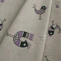 Льняные ткани с птичками в детскую. цвета внутри. испания