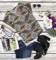 Красивая летняя блуза с ярким этно-принтом  BL4008