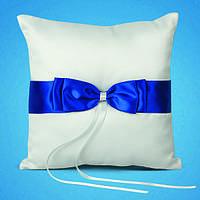 Подушечка для обручальных колец с синими лентами