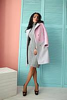 Женское стильное двухцветное пальто из турецкого кашемира