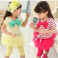 Комплект на лето для девочки 1-5 лет ( футболка и лосины с юбкой)
