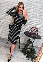 Женское красивое прямое платье с поясом и разрезами сбоку (3 цвета)