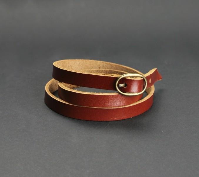 Браслет кожаный коричневый лента с пряжкой (ручная работа)