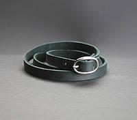 Браслет кожаный черный лента с пряжкой (ручная работа)