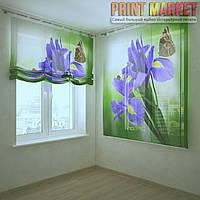 Шторы с фотопечатью цветы и бабочка 3D
