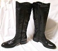 Сапоги женские демисезонные кожаные черные, Италия (размер 38)